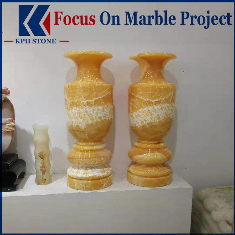 Yellow Onyx Flower Pots Vases
