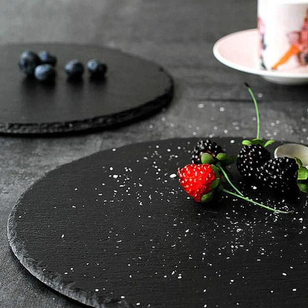 Round black slate cheese board