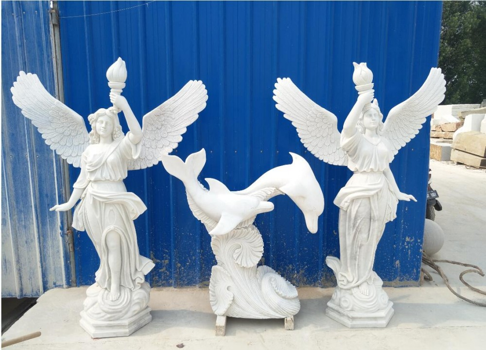 hand carved white marble angel sculptures