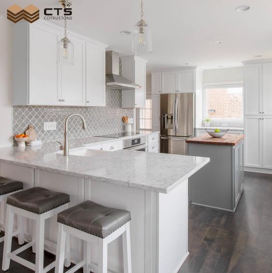 White Calacatta quartz kitchen countertops