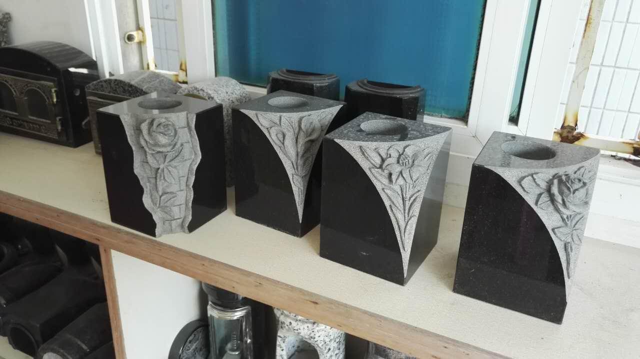 Granite vase with roses