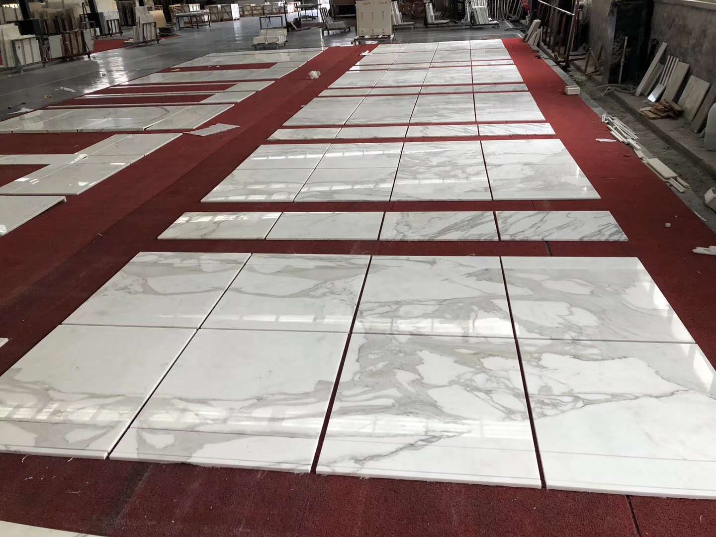 Calacatta Tiles Polished White Marble Slabs