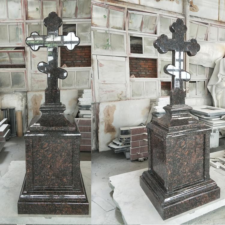 Tan Brown Cross Monument Tombstone Headstone