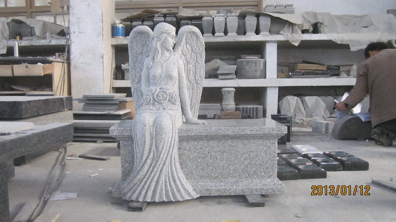 Hunan White Marble Carved Angel Bench