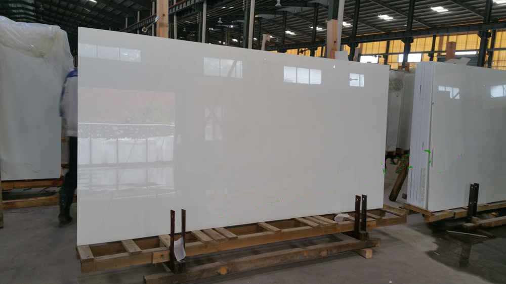 high quality white nano crystal glass artificial quartz stone slab