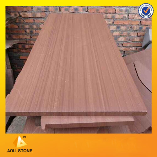 Red wooden sandstone slab for wall cladding