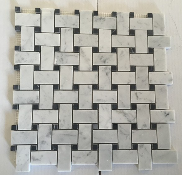 Braided Cararra White Mosaic Tiles