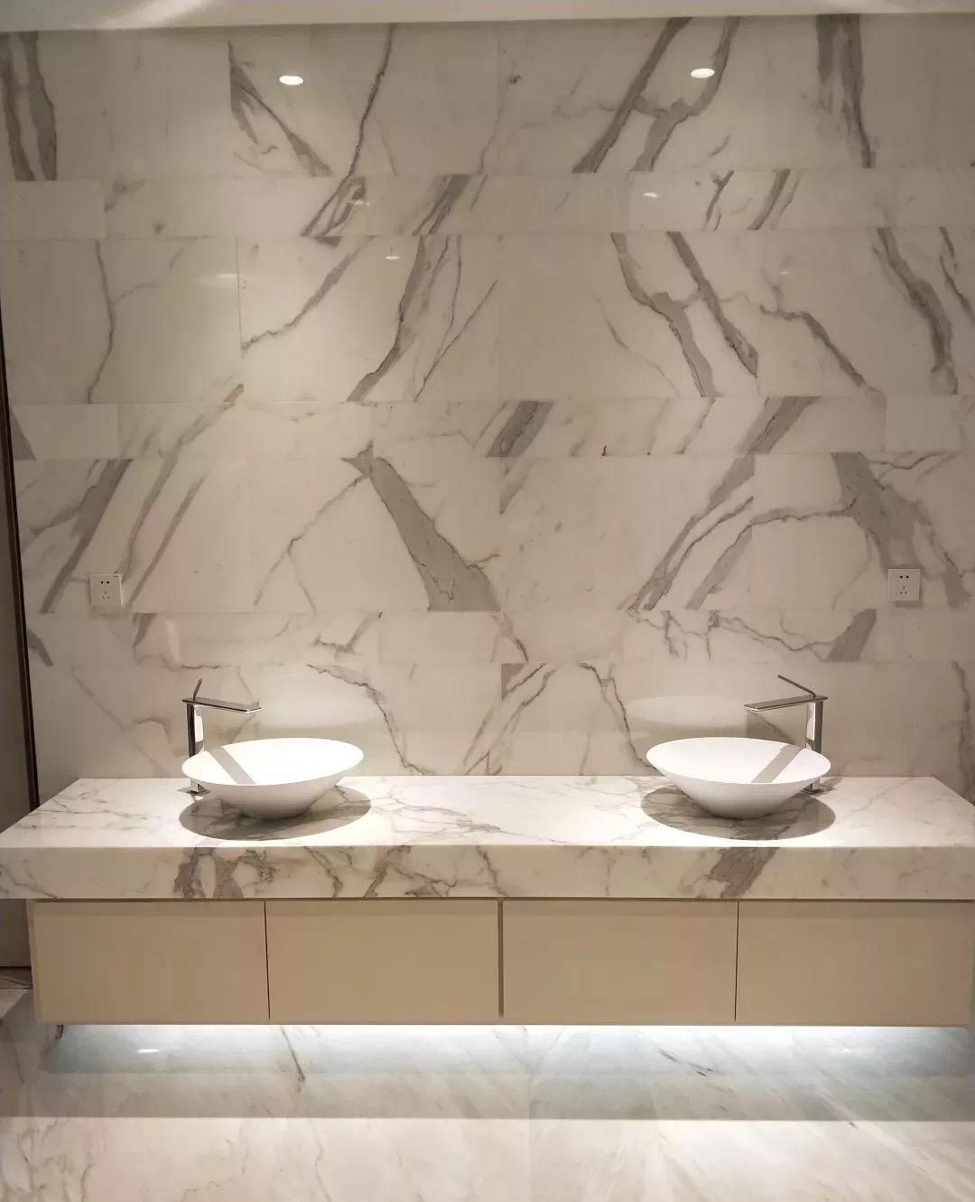 Bianco Calacatta White Marble Bathroom Vanity Tops