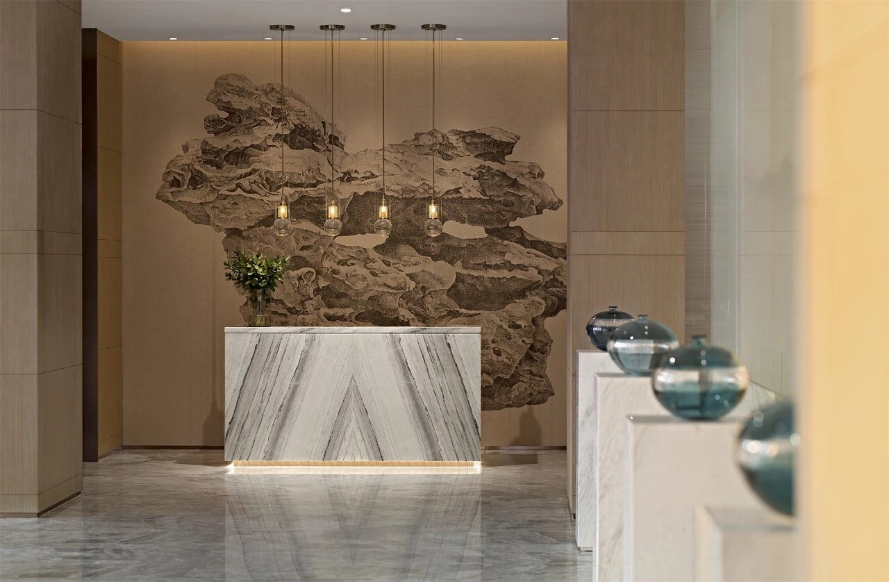 Altius Marble Bookmatch Reception Countertops