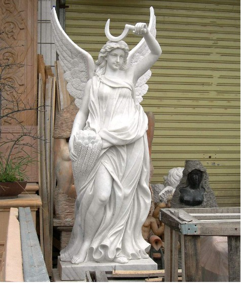 Large white marble angel femal stone statue sculpture
