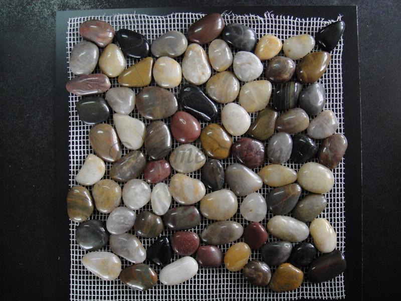 Multicolor polished round river pebble stone mosaic backsplash