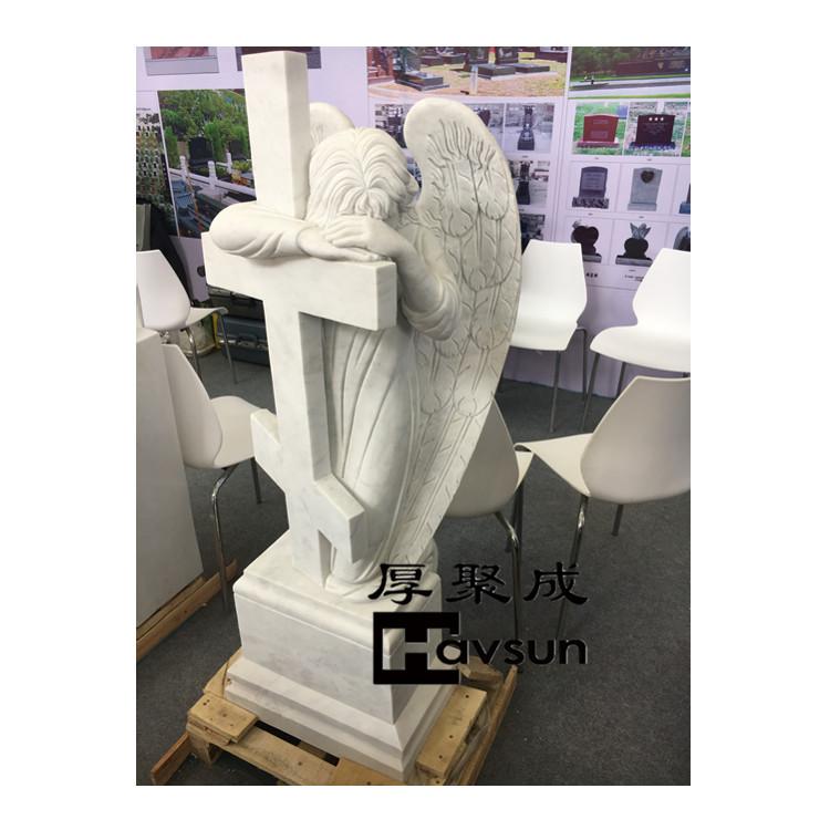 white marble angel cross headstone tombstone