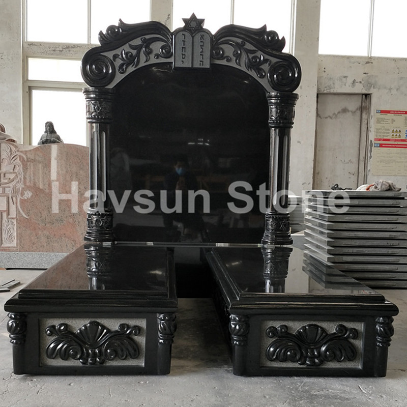 Jewish Style Tablet Double Monument Tombstone