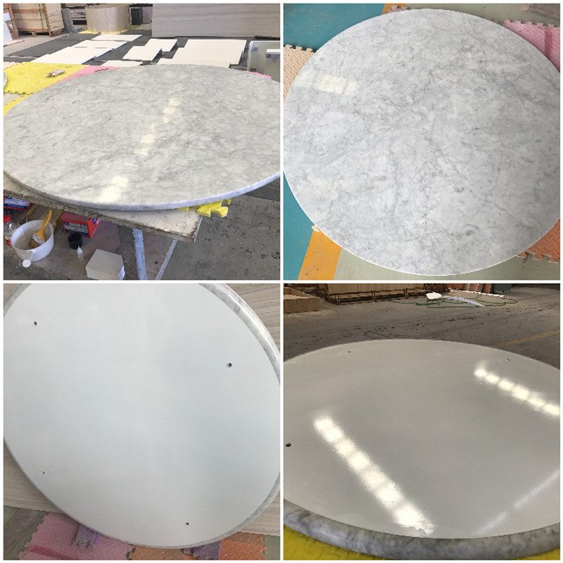 Cararra White Composite marble table tops Honeycomb backing