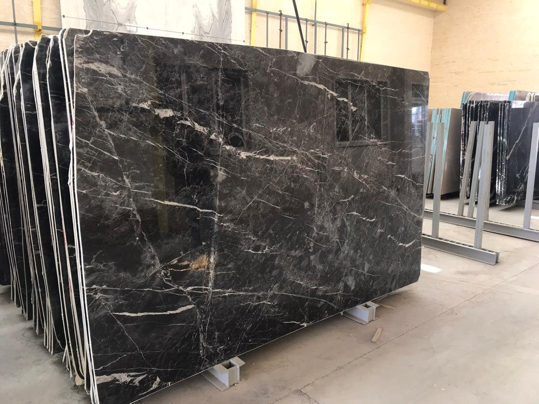 Carrara Black Marble Slabs