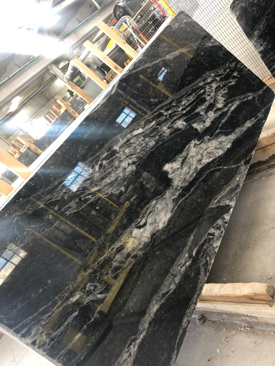 Zetta Lion Wave Marble Slabs Black Polished Marble Slabs