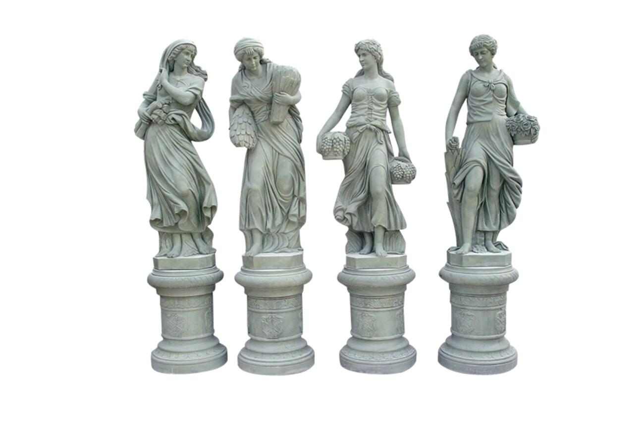 Carved marble four season statues