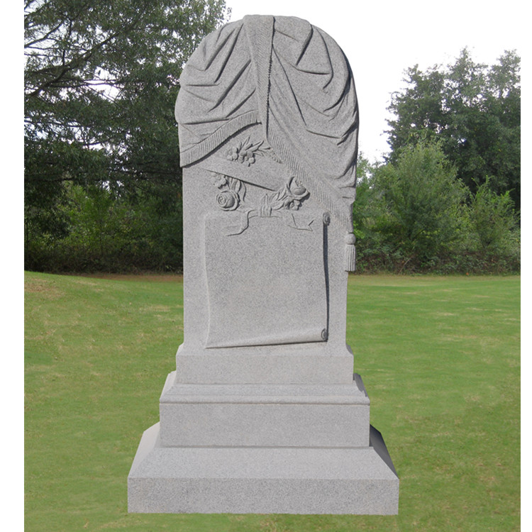 Draped Scroll with Wreath US Headstone Monument