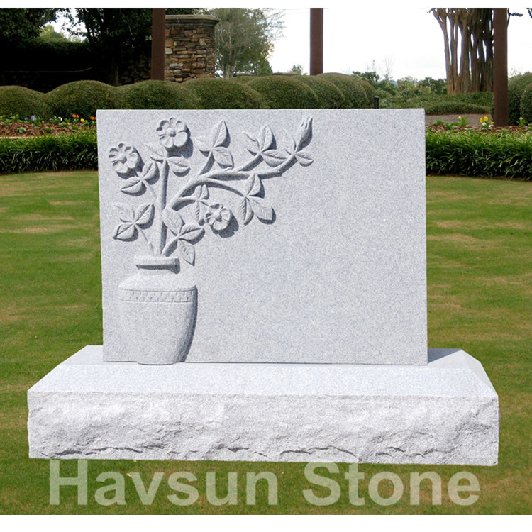 USA style vase with flowers headstone monument