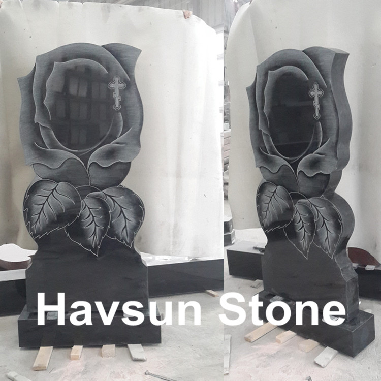 Black Granite Rose Headstone Tombstone Monument