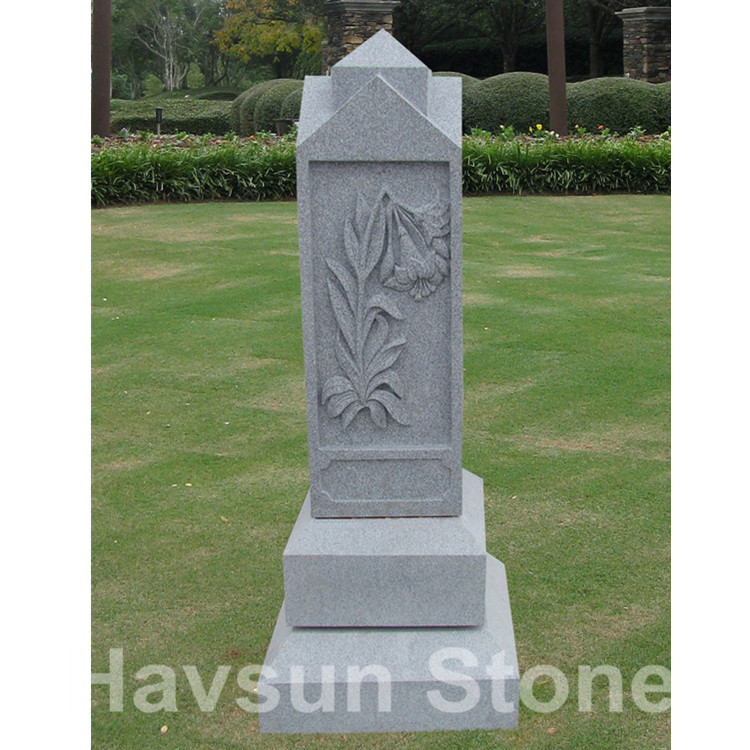 weeping flower American style headstone monument
