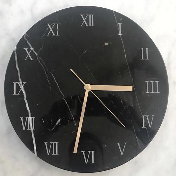 Nero Marquina Marble Clock