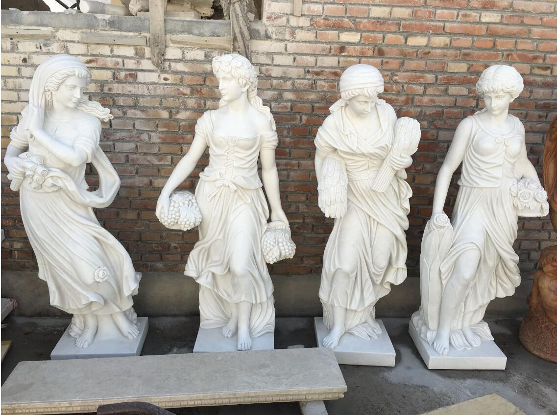 Carved white marble statues garden sculptures