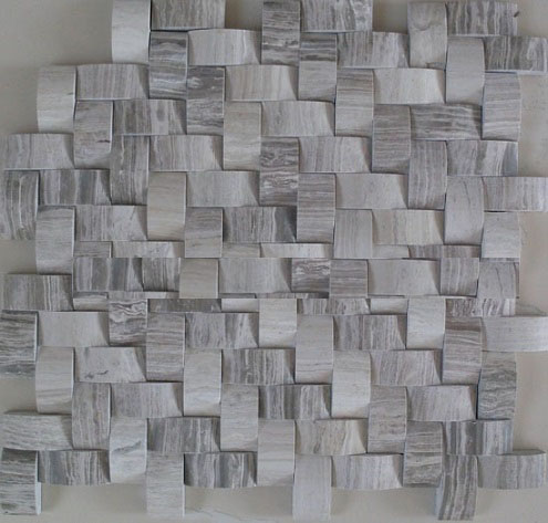 3D white wooden vein cut marble mosaic