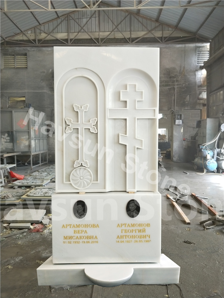 White Marble Double Monument Tombstone Gravestone