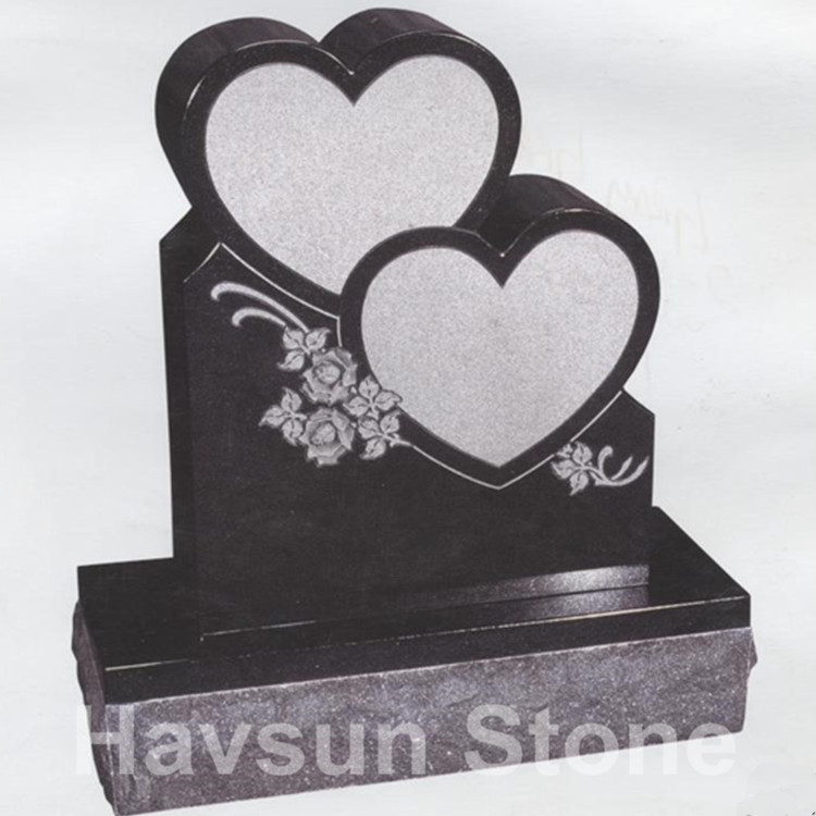 American Style Double Heart Tombstone Monument