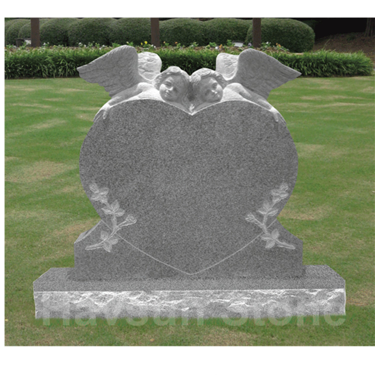 two little angel cherub heart tombstone monument