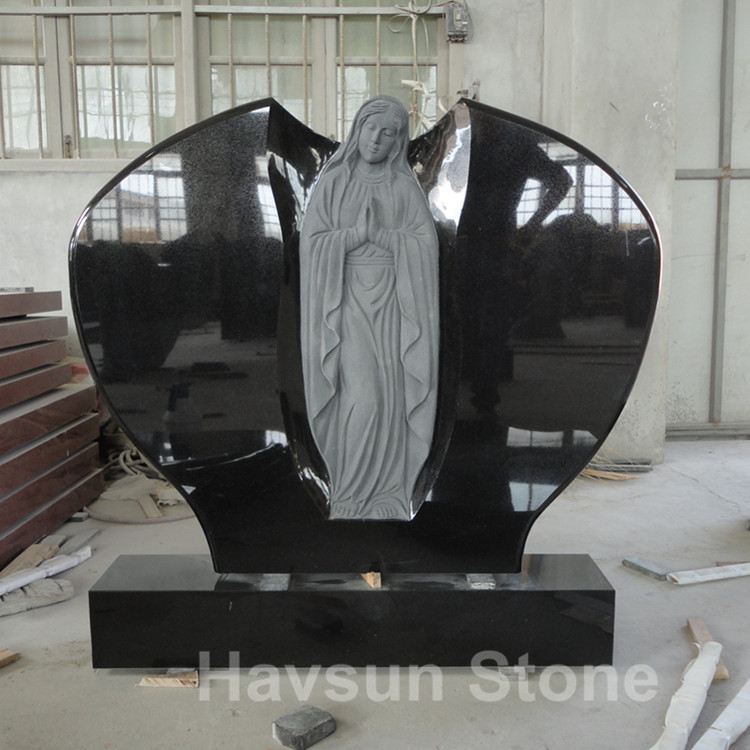 black color angel headstone tombstone monument