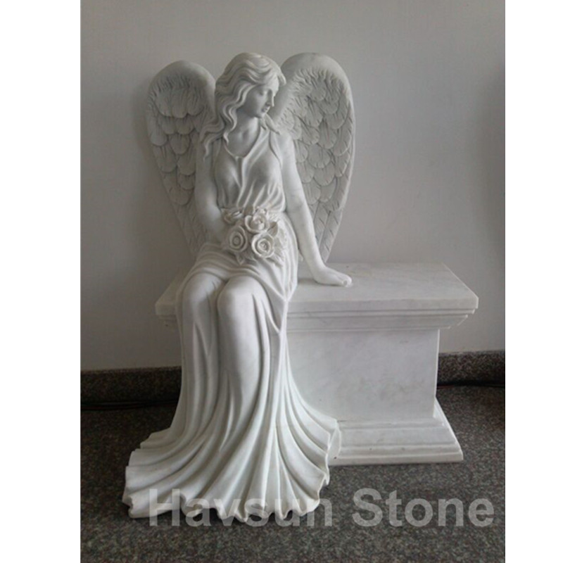 white marble angel monument tombstone