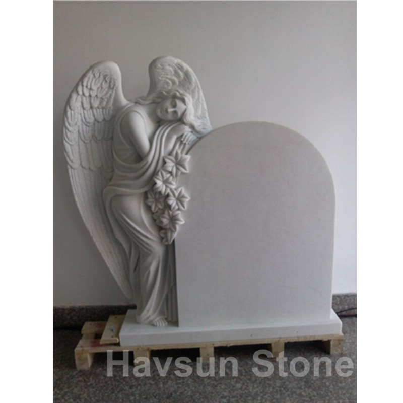 lily angel white marble headstone tombstone