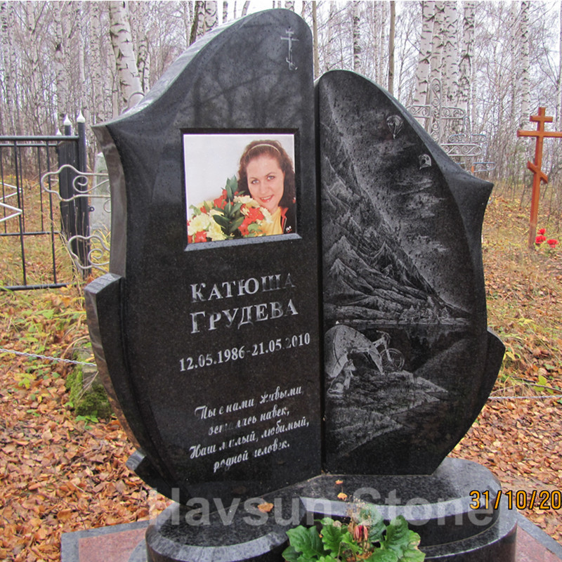 Black Color Russian Headstone Tombstone Monument