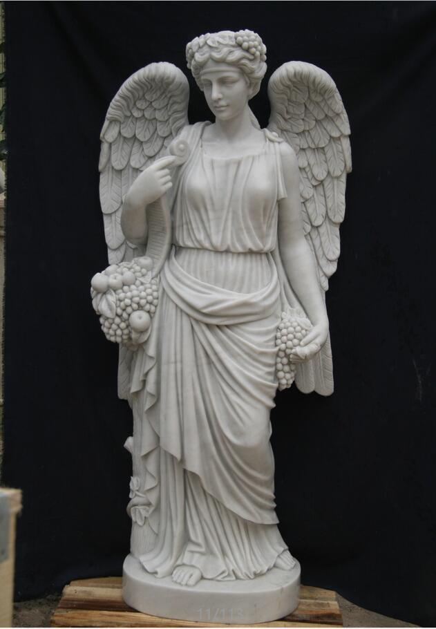 Hand carved marble angel sculpture