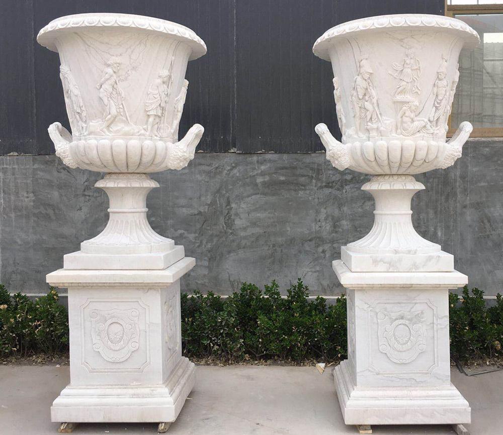 Hand carved stone flowerpots garden marble urns