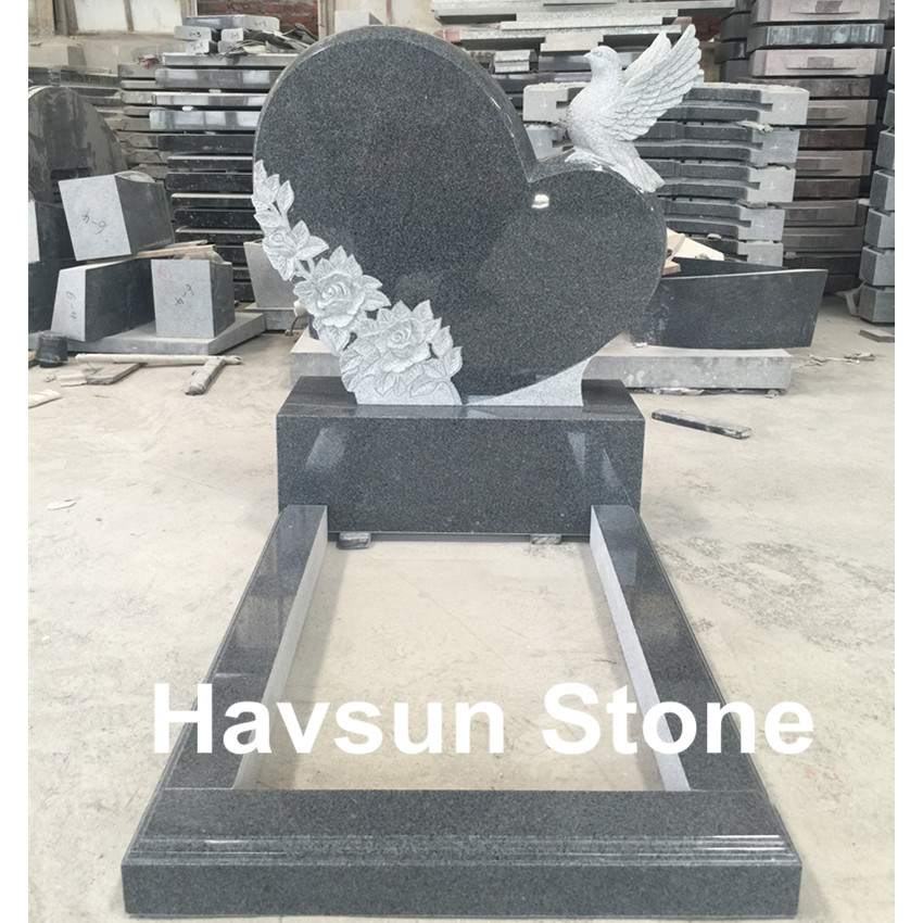 G654 Dark Grey Color Heart Dove Tombstone Monument