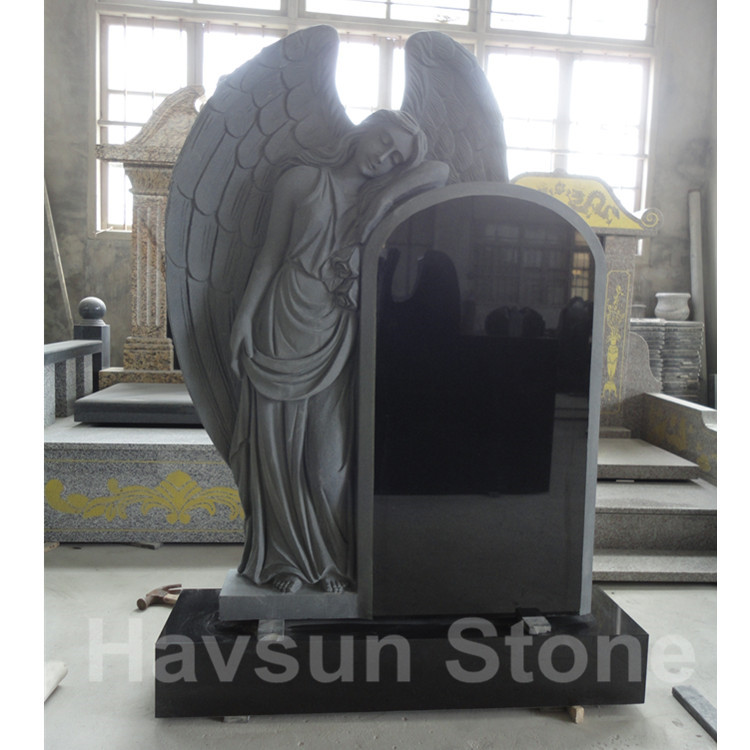 black angel with wings headstone tombstone