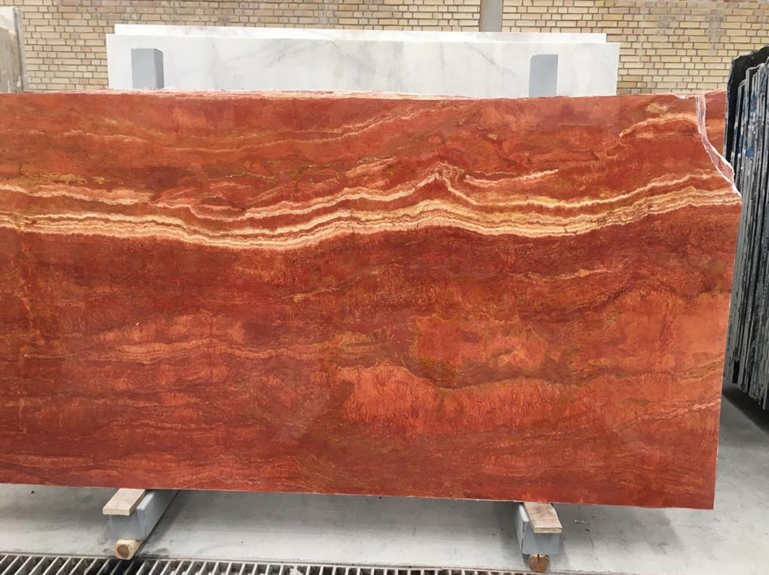 red yazd travertine slabs