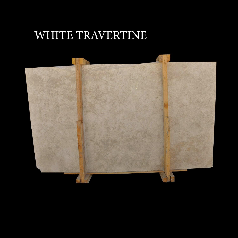 White Travertine Slabs Ivory Cream