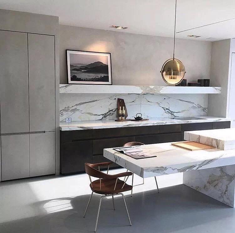 White Elegant Marble Kitchen Island Top Countertop