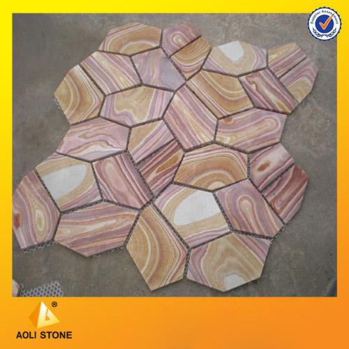 Rainbow sandstone tiles for exterior wall panel