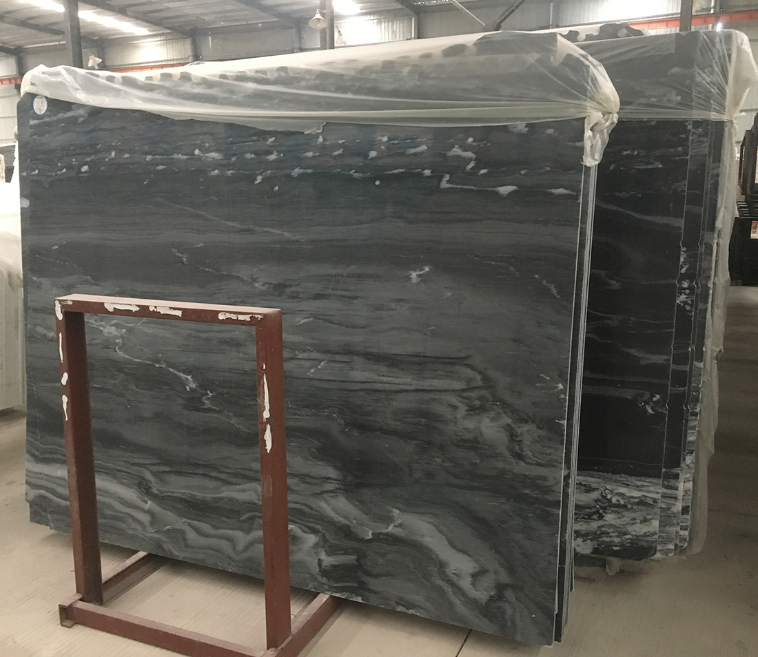 black natural stone slabs