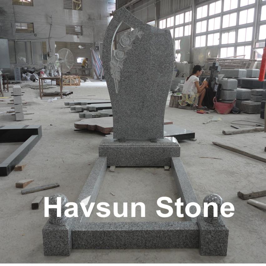 cheap white granite rose tombstone monument