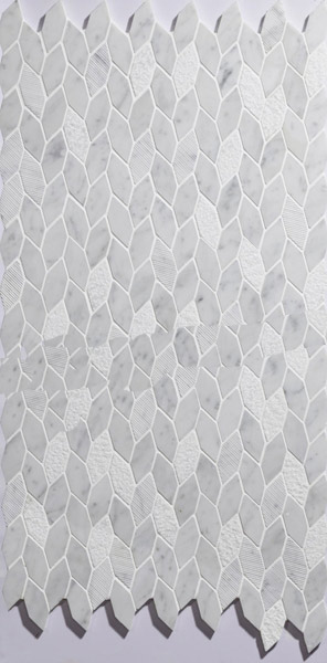 New design of white carrara marble mosaic/ leaf shape white mosaic