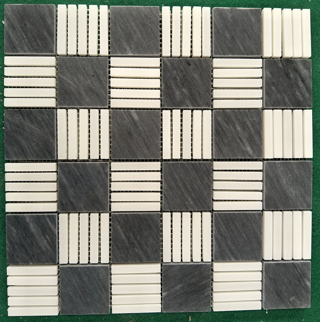 white match black marble mosaics tiles