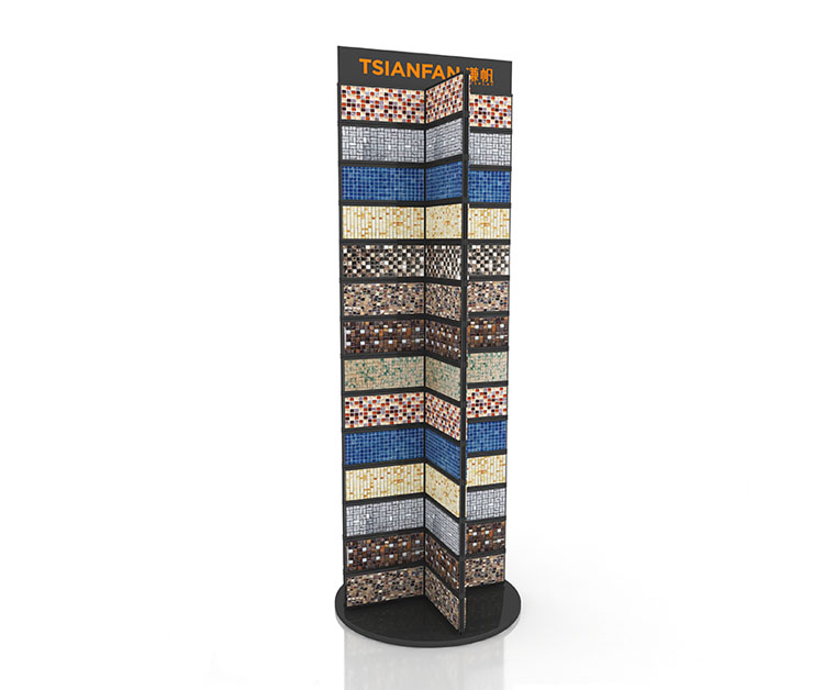 Bedrosians mosaic display rack with  swatch card