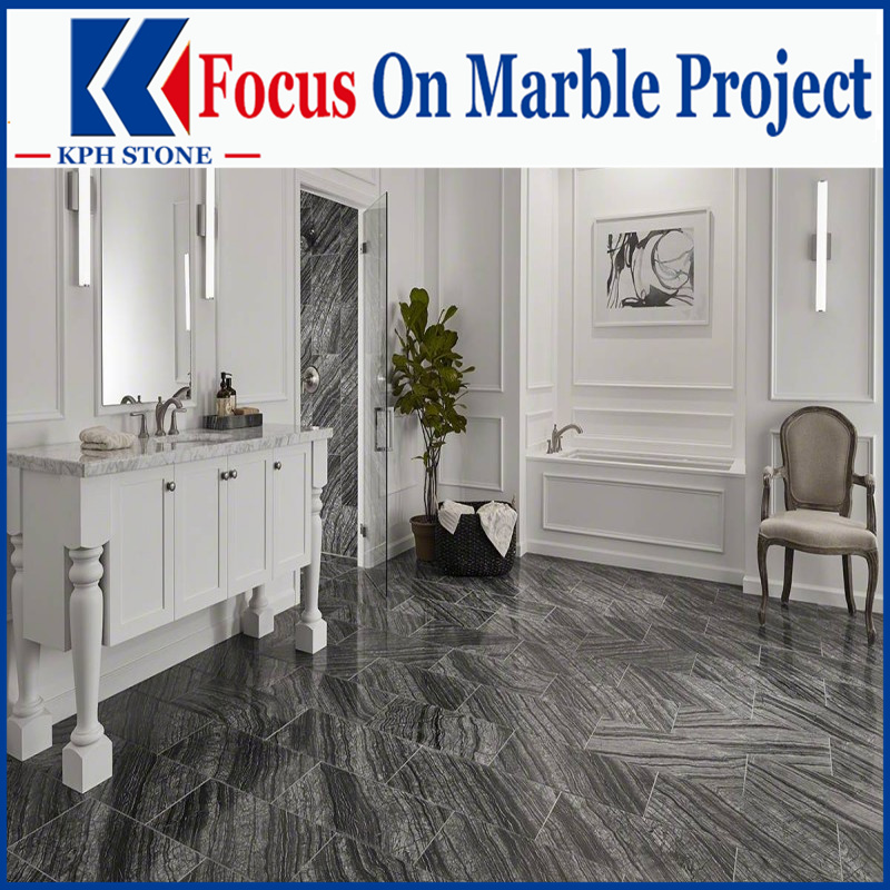 Black Wood Vein marble design for living room