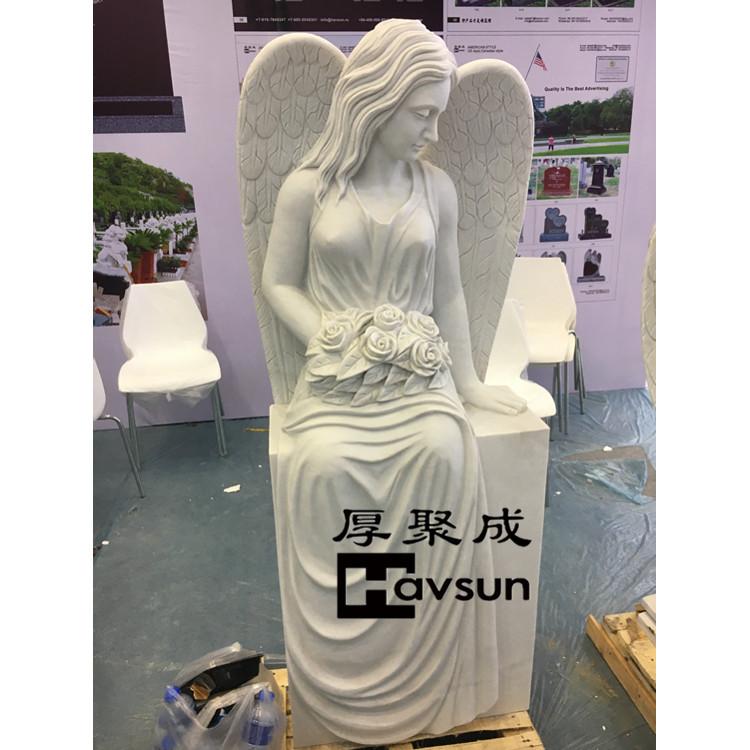 white angel flower heastone tombstone monument